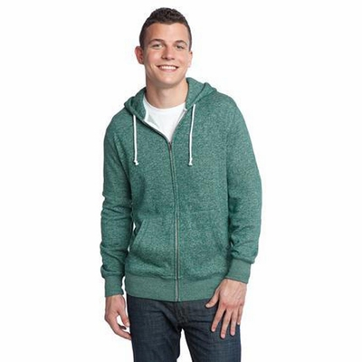 District Young Men's Sweatshirt: Two-Toned Marled Fleece Full-Zip Hoodie(DT192)