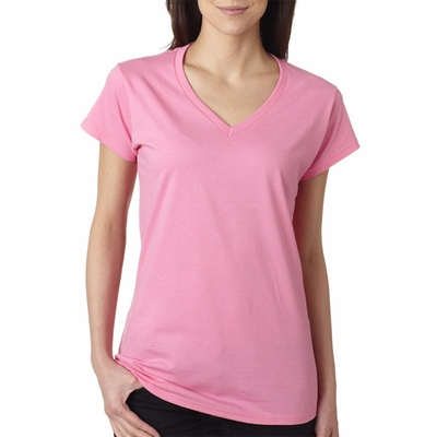 Gildan Junior Women's T-Shirt: 100% Cotton Softstyle V-Neck (64V00L)