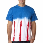 Gildan Men's T-Shirt: 100% Cotton Tie-Dye Patriotic Flag (85)