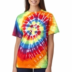 Gildan Men's T-Shirt: 100% Cotton Tie-Dye Rainbow Swirl (70)