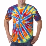 Gildan Men's T-Shirt: 100% Cotton Tie-Dye Rainbow Cut Spiral (60)