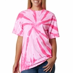 Gildan Men's T-Shirt: 100% Cotton Tie-Dye Neon One-Color Pinwheel (68)