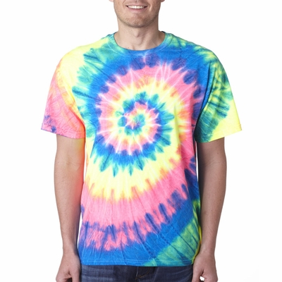Gildan Men's T-Shirt: 100% Cotton Tie-Dye Neon Pigment-Dyed Spiral (69)