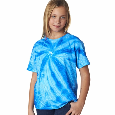 Gildan Tie Dye Youth T-Shirt: Neon One-Color Pinwheel (68B)