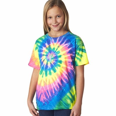 Gildan Tie Dye Youth T-Shirt: 100% Cotton Neon Pigment-Dyed Spiral Rainbow (69B)