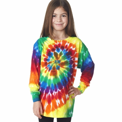 Gildan Tie Dye Youth T-Shirt: 100% Cotton Rainbow Spiral Long-Sleeve (70LB)