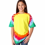 Gildan Youth T-Shirt: 100% Cotton Tie-Dye Teardrop Rainbow (74B)