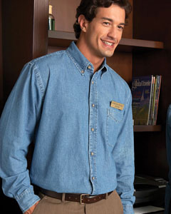 Harriton Men's Denim Shirt: 100% Cotton Long-Sleeve (M550)