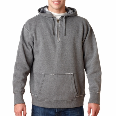 J. America Men's Sweatshirt: 1/4 Zip Vintage Plaid Lined Hooded (J8893)