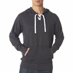 J. America Men's Sweatshirt: 100% Cotton Fleece Sport Lace Jersey Hooded  (J8231)