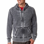 J. America Men's Sweatshirt: Cotton/Poly Blend Zen Vintage Full Zip Hooded (J8916)