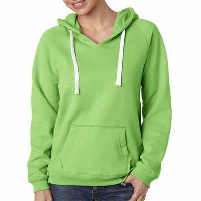 J. America Women's Sweatshirt: Sueded Cotton/Poly Blend Hooded Pullover V-Neck (J8836)