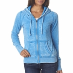 J. America Women's Sweatshirt: Cotton/Poly Zen Vintage Full Zip Hooded (J8913)