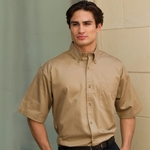 Jonathan Corey Men's Twill Shirt: Short Sleeve Heavyweight Washed (611)