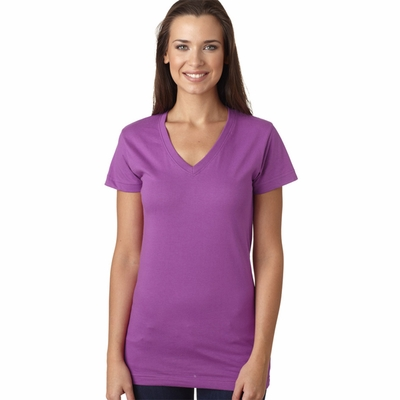 LAT Sportswear Women's T-Shirt: 100% Cotton Fine Jersey V-Neck Longer Length (3607)