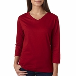 LAT Sportswear Women's T-Shirt: 100% Cotton Ringspun V-Neck 3/4-Sleeve (3577)