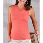 LAT Sportswear Women's T-Shirt: 100% Cotton Ringspun V-Neck Sleeveless (3584)