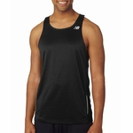 New Balance Men's Tank Top: 100% Polyester Birdseye Pique Knit Flatback Mesh Tempo Running (NB9138)