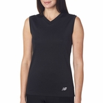 New Balance Women's T-Shirt: 100% Polyester Birdseye Knit Flatback Pique Mesh Sleeveless V-Neck (NB7117L)