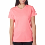 New Balance Women's T-Shirt: 100% Polyester Birdseye Pique Knit Flatback Mesh NDurance Athletic V-Neck (NB7118L)
