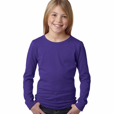 Next Level Girls T-Shirt: 100% Combed Cotton Fine Jersey Long Sleeve Princess (3711)