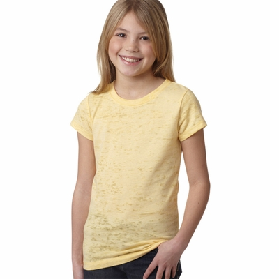 Next Level Girls T-Shirt: Poly/Cotton Jersey Blend Burnout Princess Short Sleeve Crewneck (6510)