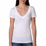 Next Level Women's T-Shirt: 100% Cotton Vintage Jersey Short Sleeve Deep V-Neck (3540)