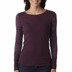 Next Level Women's T-Shirt: 100% Combed Cotton Sheer Jersey Long Sleeve Burnout Combo (4501)
