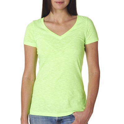 Next Level Women's T-Shirt: Slub Combed Cotton/Poly V-Neck Cross-Over (6840)