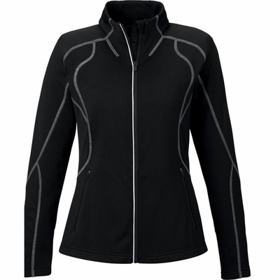 North End Women's Jacket: Full-Zip Lightwieght Performance Fleece w/ Reflective Piping (78174)