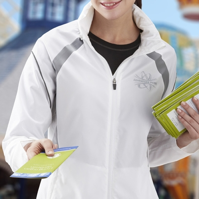 North End Women's Jacket: Lightweight Unlined Water Resistant w/ Reflective Piping (78168)