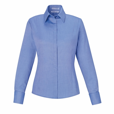 Ladies' Refine Wrinkle-Free Two-Ply 80's Cotton Royal Oxford Dobby Taped Shirt: (78689)