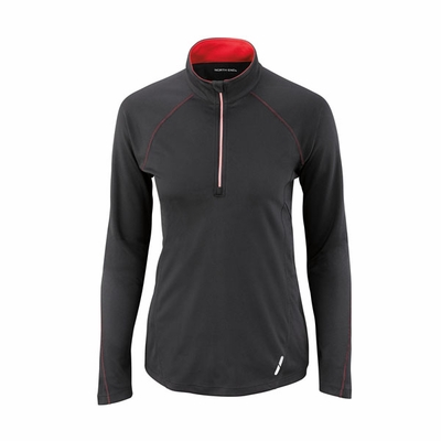 North End Women's Sweatshirt: Half Zip Bridseye Mesh Athletic Pullover (78187)