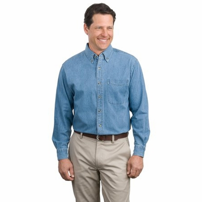 Port Authority Men's Denim Shirt: 100% Cotton Long Sleeve (S600)