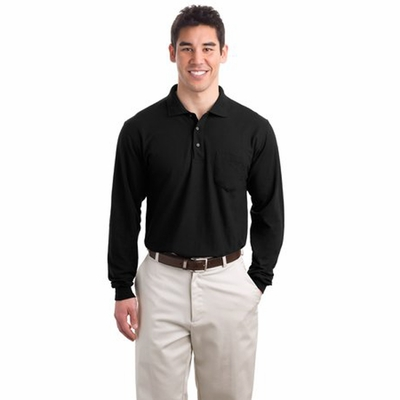 Port Authority Men's Polo Shirt: Silk Touch Long Sleeve with Pocket (K500LSP)