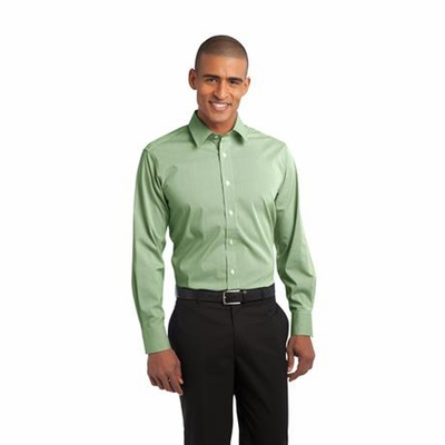Port Authority Men's Poplin Shirt: Fine Stripe Stretch