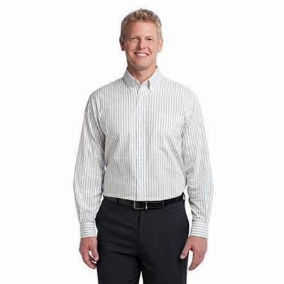 Port Authority Men's Poplin Shirt: Tatersall Easy Care Button Down (S642)