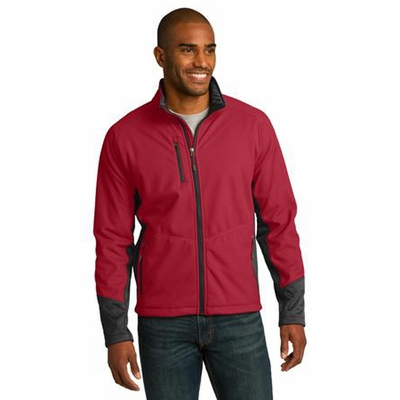Port Authority Men's Soft Shell Jacket: Vertical Texture Color Block Waterproof (J319)