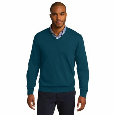 Port Authority Men's Sweater: Cotton Blend Long Sleeve V-Neck (SW285)