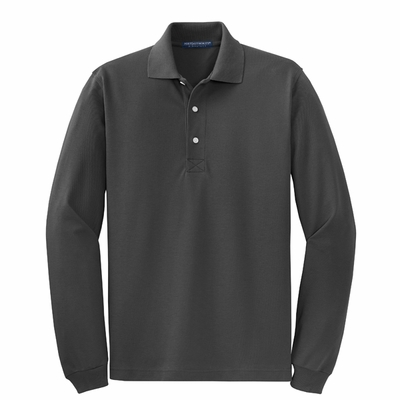 Port Authority Men's Tall Polo Shirt: Cotton Blend Pique Rapid Dry Long Sleeve (TLK455LS)