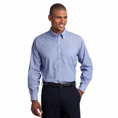 Port Authority Men's Tall Poplin Shirt: Crosshatch Easy Care Long Sleeve (TLS640)