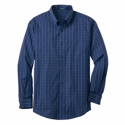 Port Authority Men's Tall Poplin Shirt: Tattersall Easy Care Long Sleeve (TLS642)