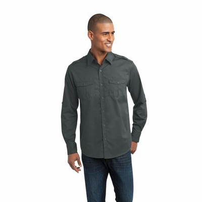 Port Authority Men's Twill Shirt: Stain-Resistant Roll Sleeve