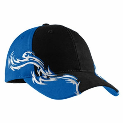 Port Authority Racing Cap: 100% Cotton Color block Flames (C859)