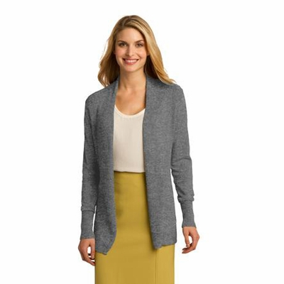 Port Authority Women's Cardigan: Long Rib Knit Details Open Front (LSW289)