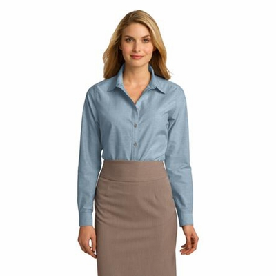 Port Authority Women's Chambray Shirt: Cotton Blend Textured Tonal Stitch (L653)