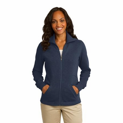 Port Authority Women's Fleece Jacket: Slub Texture Pocketed Full-Zip (L293)