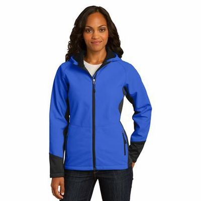 Port Authority Women's Soft Shell Jacket: Color Block Vertical Texture Hooded (L319)