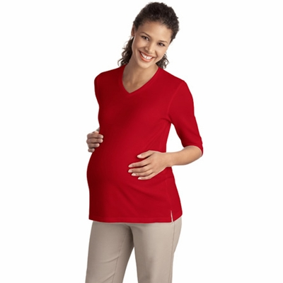Port Authority Women's Maternity Shirt: Silk Touch 3/4-Sleeve V-Neck (L561M)