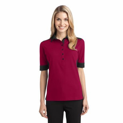 Port Authority Women's Polo Shirt: Silk Touch Colorblock